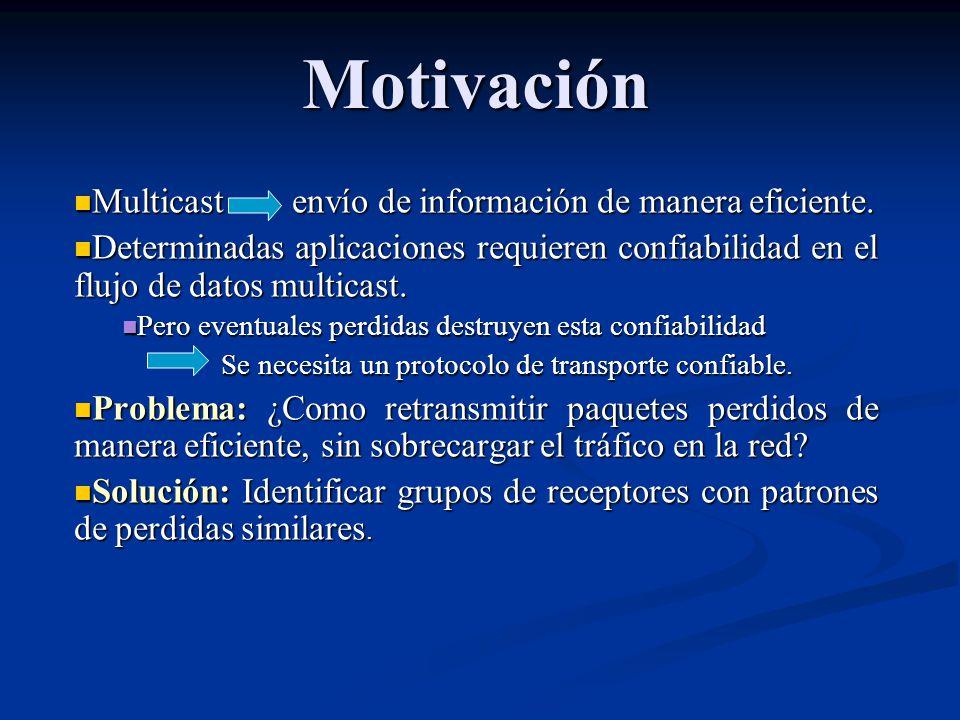 Motivación Multicast envío de información de manera eficiente. Multicast envío de información de manera eficiente. Determinadas aplicaciones requieren