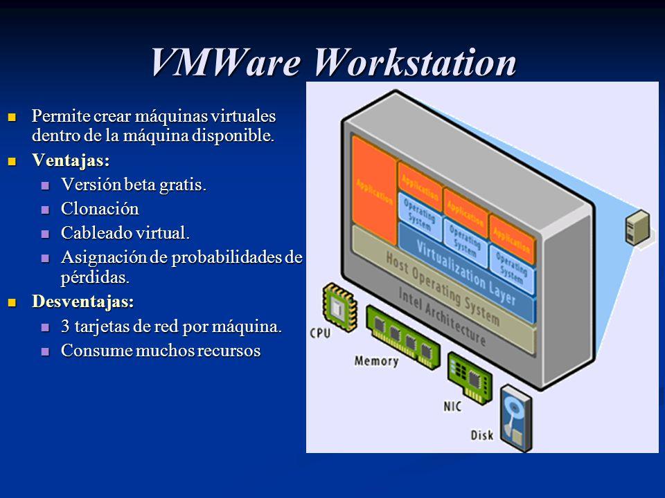 VMWare Workstation Permite crear máquinas virtuales dentro de la máquina disponible. Permite crear máquinas virtuales dentro de la máquina disponible.