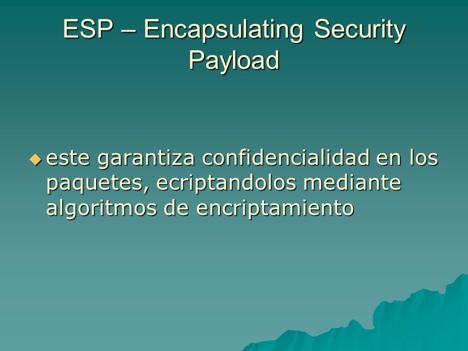 ESP – Encapsulating Security Payload este garantiza confidencialidad en los paquetes, ecriptandolos mediante algoritmos de encriptamiento este garanti