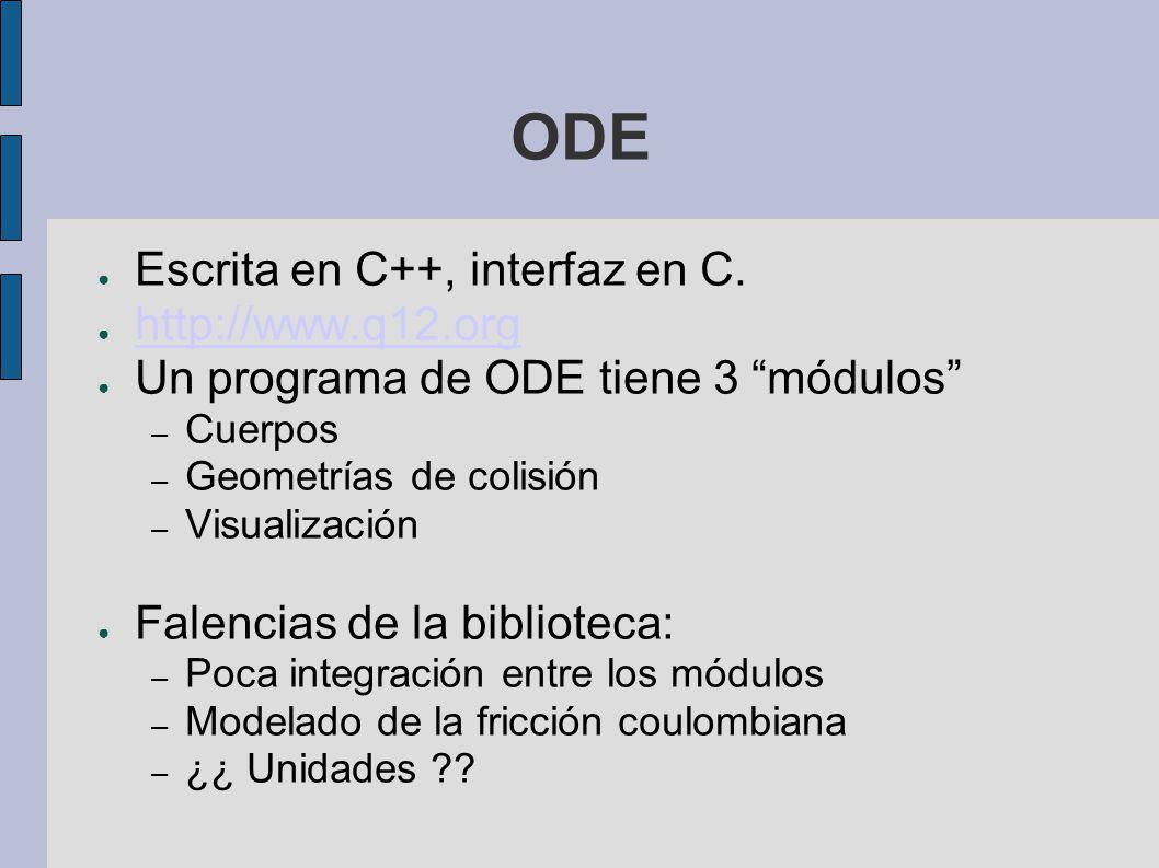 ODE Escrita en C++, interfaz en C. http://www.q12.org Un programa de ODE tiene 3 módulos – Cuerpos – Geometrías de colisión – Visualización Falencias