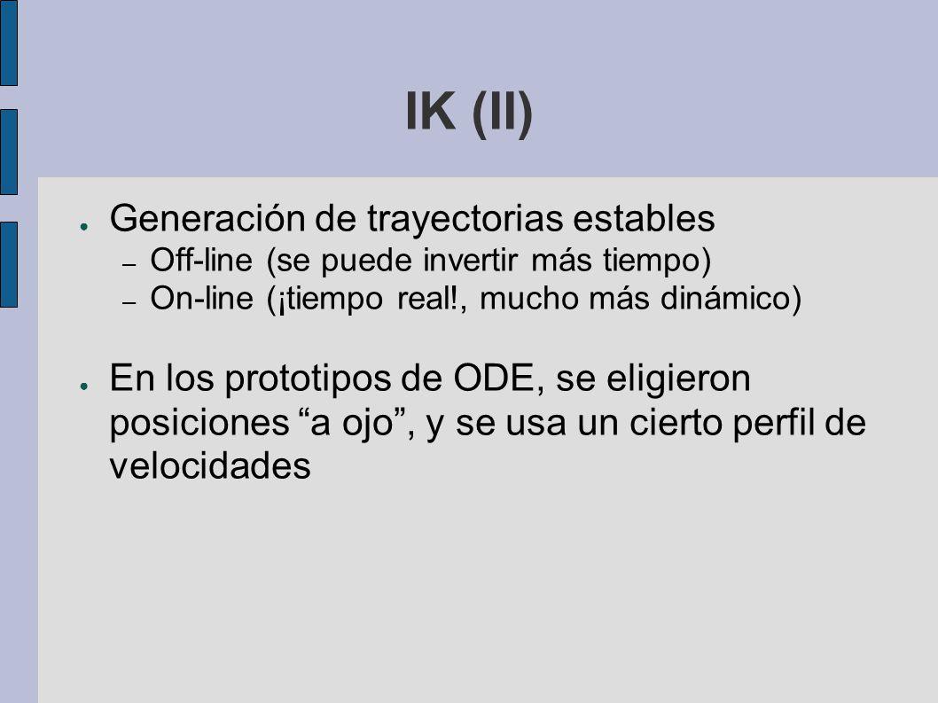 IK (II) Generación de trayectorias estables – Off-line (se puede invertir más tiempo) – On-line (¡tiempo real!, mucho más dinámico) En los prototipos