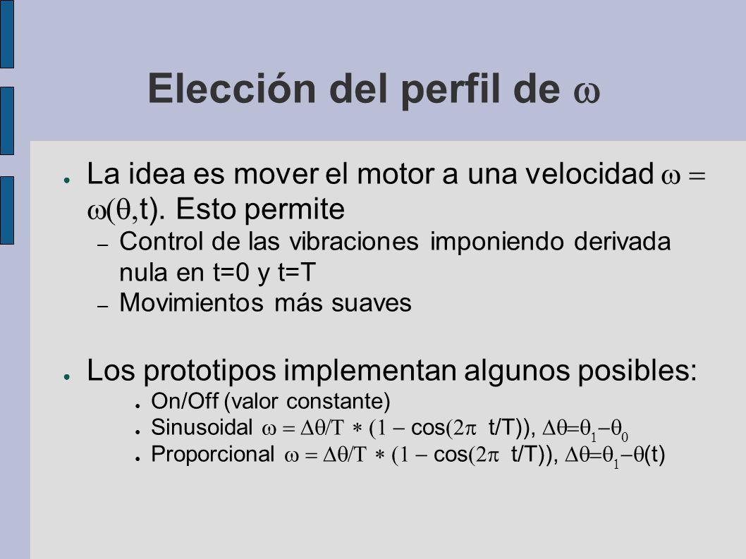 Elección del perfil de La idea es mover el motor a una velocidad t). Esto permite – Control de las vibraciones imponiendo derivada nula en t=0 y t=T –