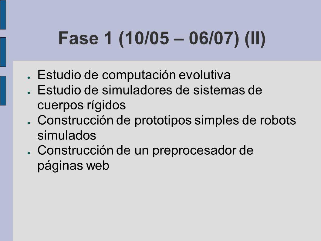 Fase 1 (10/05 – 06/07) (II) Estudio de computación evolutiva Estudio de simuladores de sistemas de cuerpos rígidos Construcción de prototipos simples