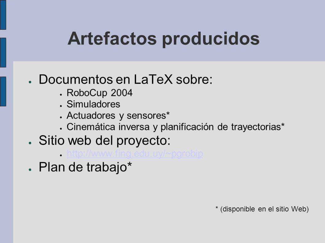 Artefactos producidos Documentos en LaTeX sobre: RoboCup 2004 Simuladores Actuadores y sensores* Cinemática inversa y planificación de trayectorias* S