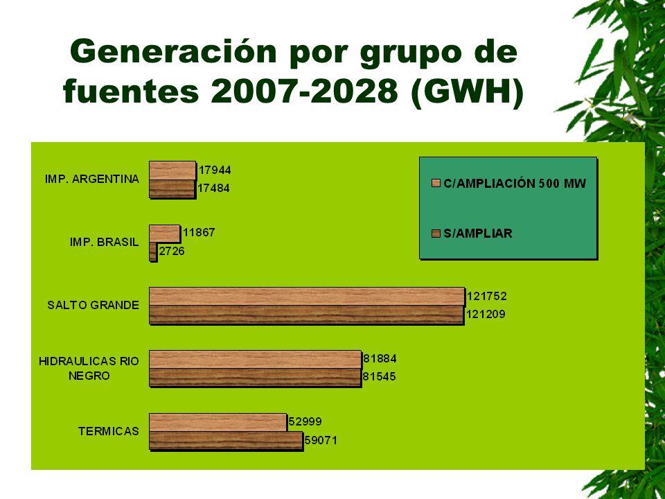 Generación por grupo de fuentes 2007-2028 (GWH)