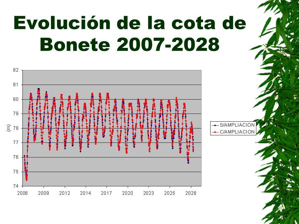 Evolución de la cota de Bonete 2007-2028