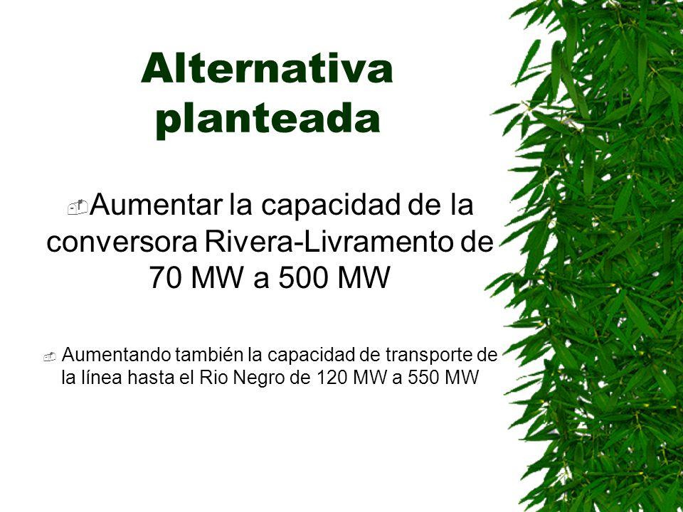 Alternativa planteada Aumentar la capacidad de la conversora Rivera-Livramento de 70 MW a 500 MW Aumentando también la capacidad de transporte de la línea hasta el Rio Negro de 120 MW a 550 MW