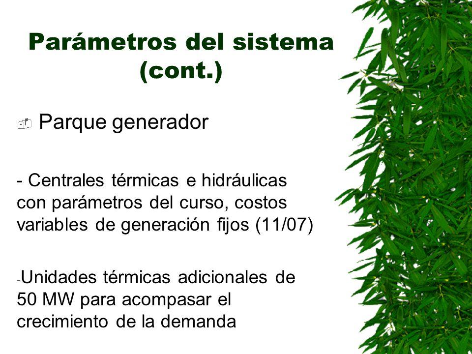 Parámetros del sistema (cont.) Parque generador - Centrales térmicas e hidráulicas con parámetros del curso, costos variables de generación fijos (11/07) - Unidades térmicas adicionales de 50 MW para acompasar el crecimiento de la demanda