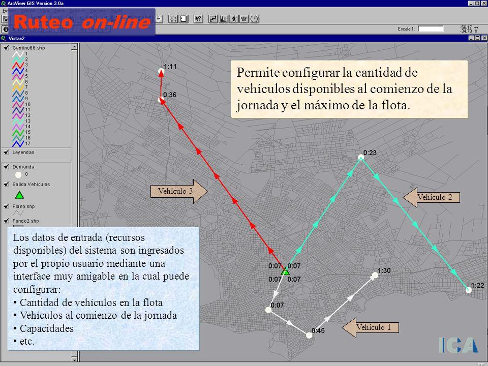 Ruteo on-line Permite configurar la cantidad de vehículos disponibles al comienzo de la jornada y el máximo de la flota. Los datos de entrada (recurso