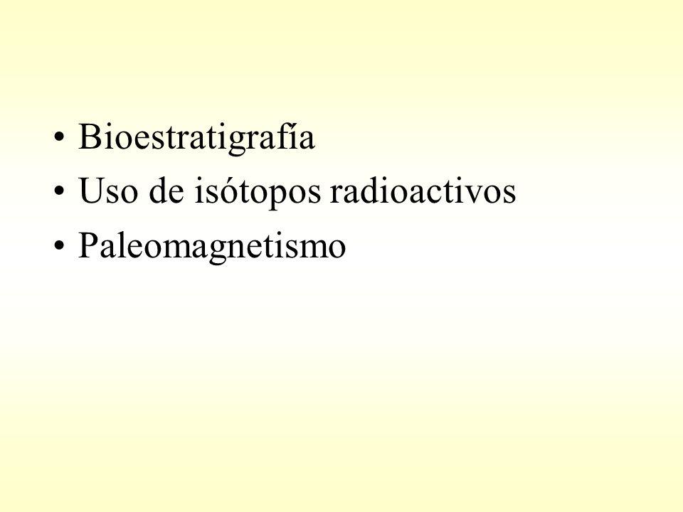 Bioestratigrafía Uso de isótopos radioactivos Paleomagnetismo