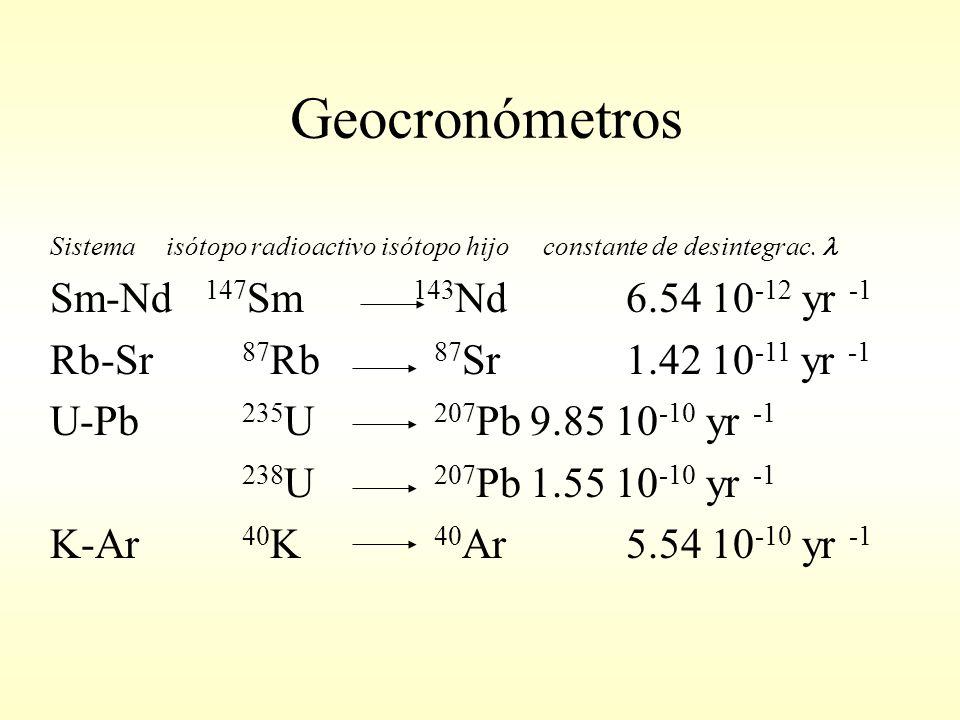 Geocronómetros Sistema isótopo radioactivo isótopo hijo constante de desintegrac.
