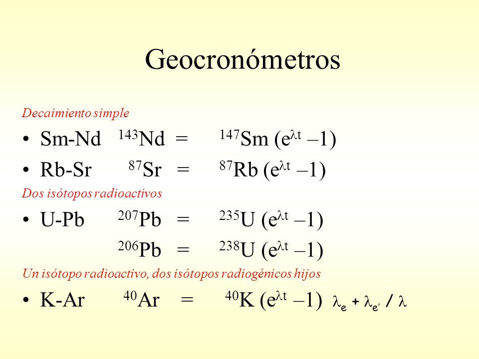 Geocronómetros Decaimiento simple Sm-Nd 143 Nd = 147 Sm (e t –1) Rb-Sr 87 Sr = 87 Rb (e t –1) Dos isótopos radioactivos U-Pb 207 Pb = 235 U (e t –1) 206 Pb = 238 U (e t –1) Un isótopo radioactivo, dos isótopos radiogénicos hijos K-Ar 40 Ar = 40 K (e t –1) e + e /