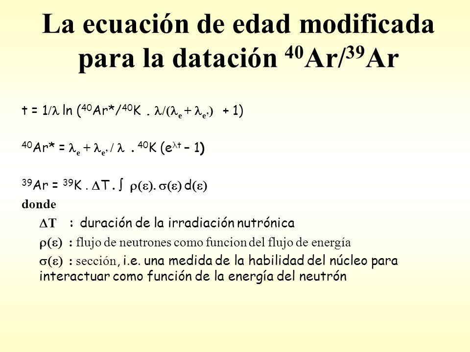 La ecuación de edad modificada para la datación 40 Ar/ 39 Ar t = 1 / ln ( 40 Ar*/ 40 K.