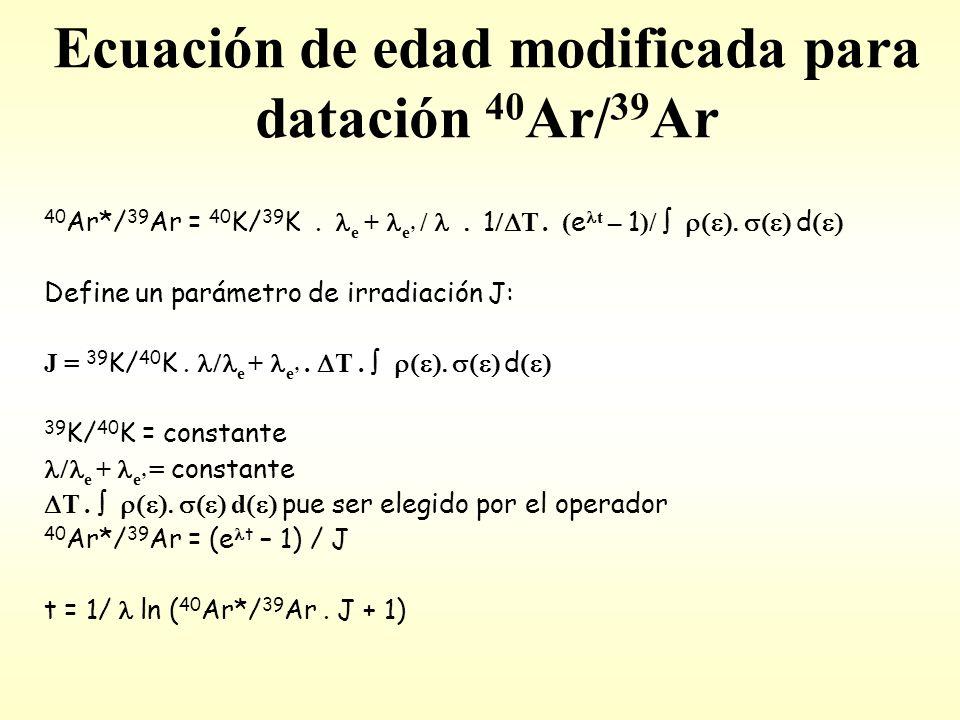 Ecuación de edad modificada para datación 40 Ar/ 39 Ar 40 Ar*/ 39 Ar = 40 K/ 39 K.