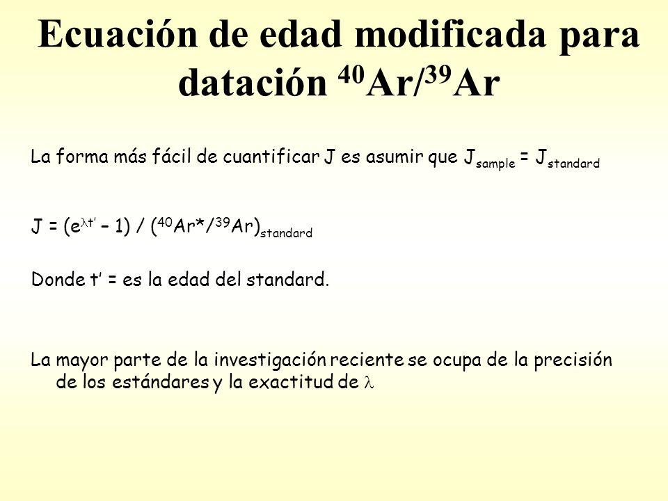 Ecuación de edad modificada para datación 40 Ar/ 39 Ar La forma más fácil de cuantificar J es asumir que J sample = J standard J = (e t – 1) / ( 40 Ar*/ 39 Ar) standard Donde t = es la edad del standard.