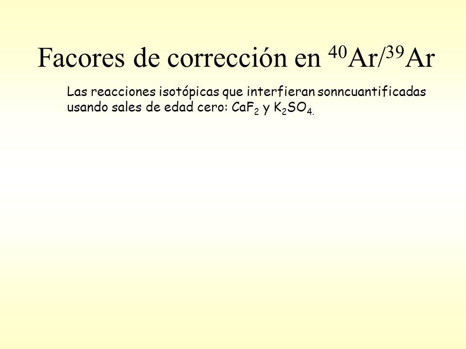 Facores de corrección en 40 Ar/ 39 Ar Las reacciones isotópicas que interfieran sonncuantificadas usando sales de edad cero: CaF 2 y K 2 SO 4.