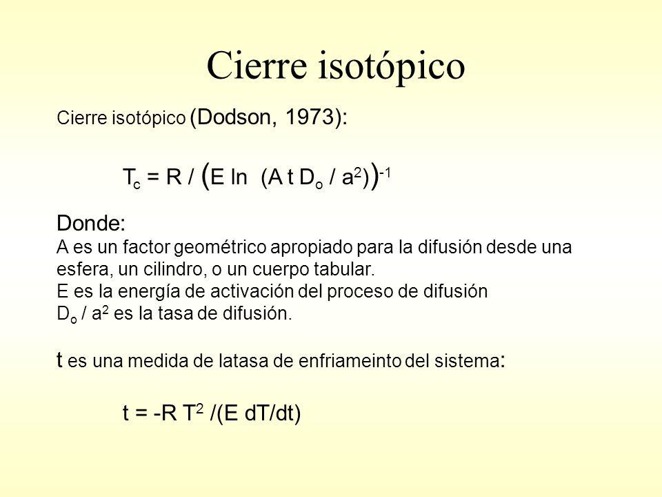 Cierre isotópico Cierre isotópico (Dodson, 1973): T c = R / ( E ln (A t D o / a 2 ) ) -1 Donde: A es un factor geométrico apropiado para la difusión desde una esfera, un cilindro, o un cuerpo tabular.