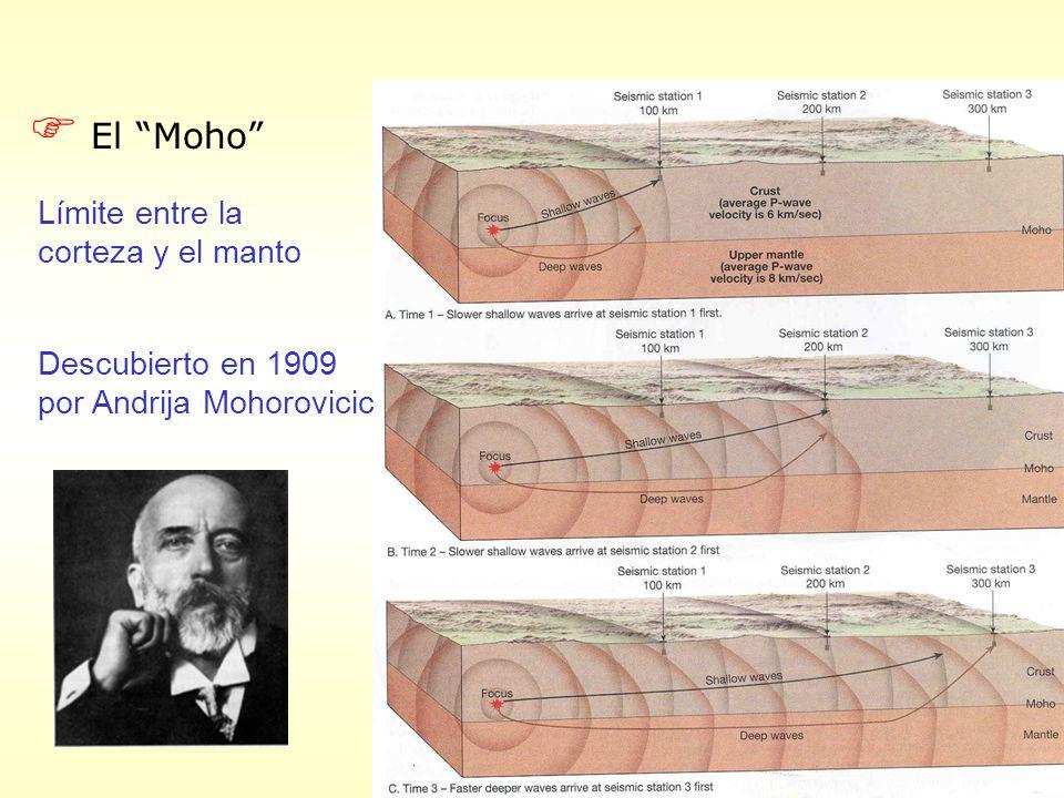 F El Moho Límite entre la corteza y el manto Descubierto en 1909 por Andrija Mohorovicic