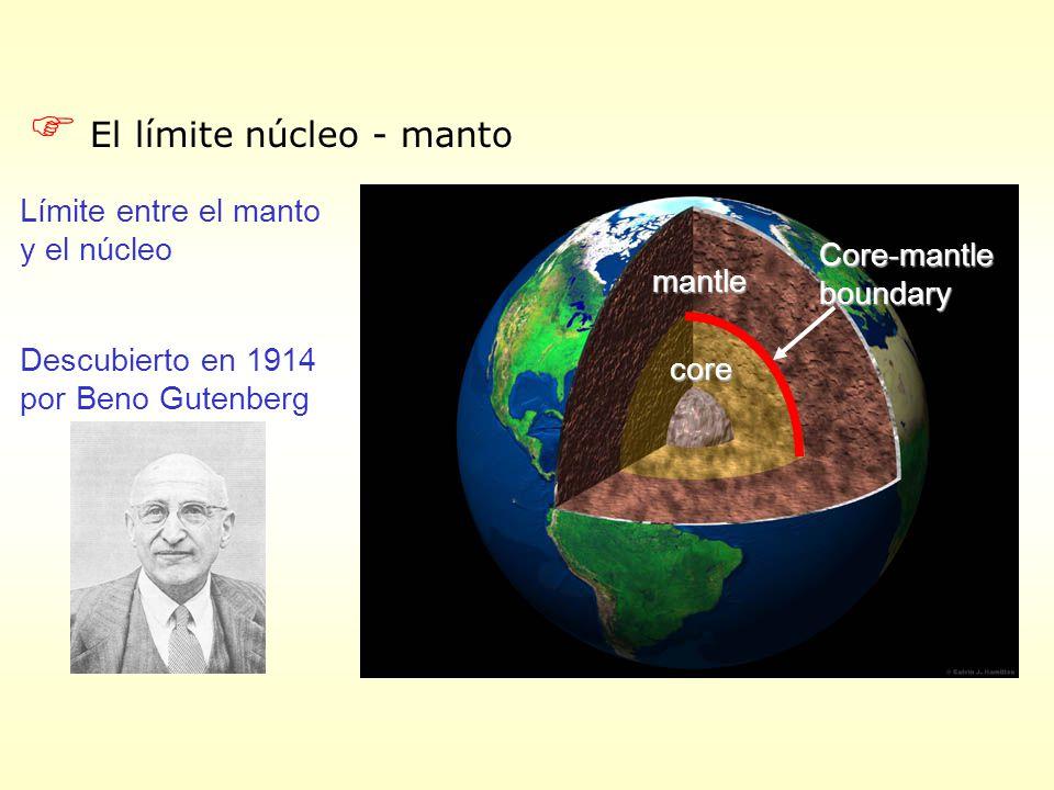 F El límite núcleo - manto Límite entre el manto y el núcleo Descubierto en 1914 por Beno Gutenberg mantle core Core-mantleboundary