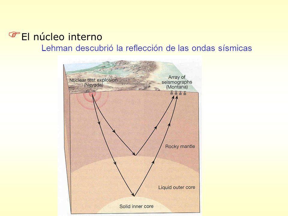 F El núcleo interno Lehman descubrió la reflección de las ondas sísmicas
