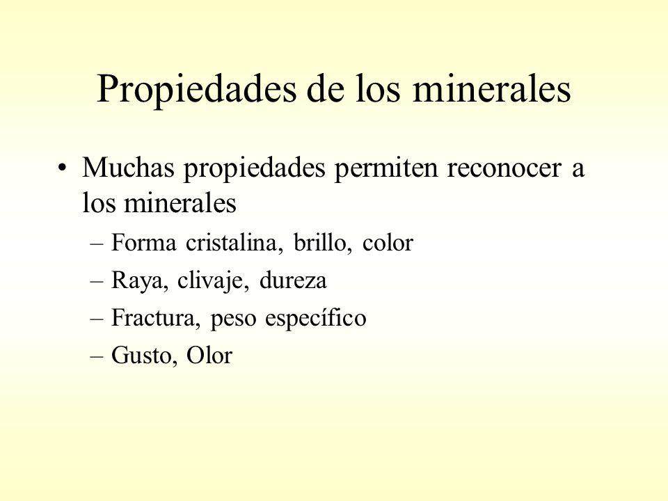 Propiedades de los minerales Muchas propiedades permiten reconocer a los minerales –Forma cristalina, brillo, color –Raya, clivaje, dureza –Fractura, peso específico –Gusto, Olor