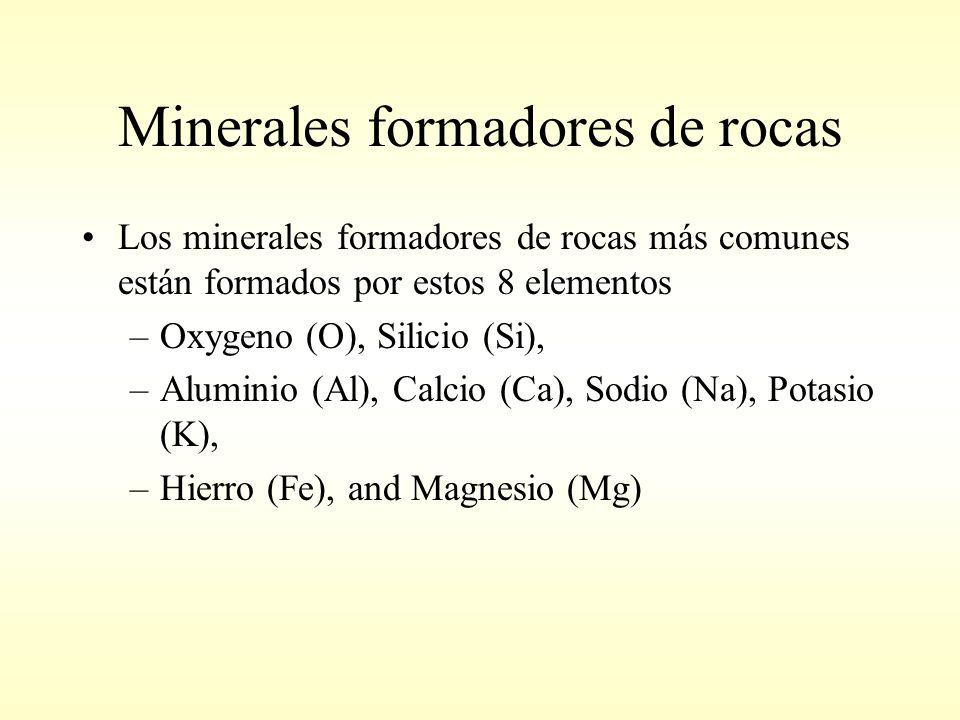 Minerales formadores de rocas Los minerales formadores de rocas más comunes están formados por estos 8 elementos –Oxygeno (O), Silicio (Si), –Aluminio (Al), Calcio (Ca), Sodio (Na), Potasio (K), –Hierro (Fe), and Magnesio (Mg)