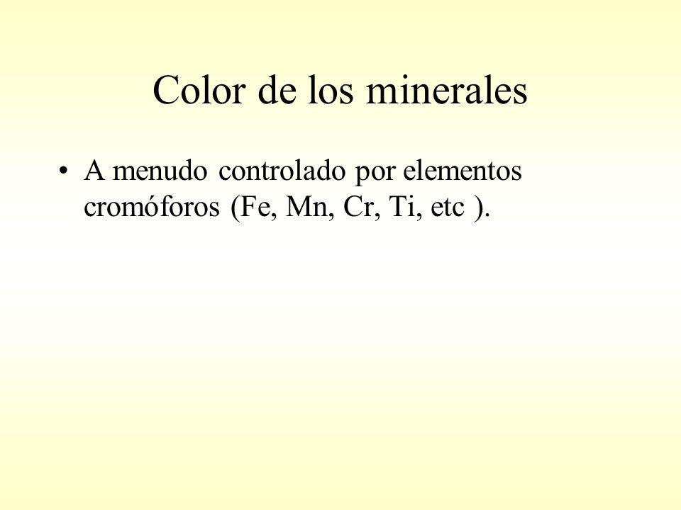 Color de los minerales A menudo controlado por elementos cromóforos (Fe, Mn, Cr, Ti, etc ).
