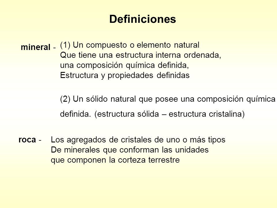 Definiciones mineral - (1) Un compuesto o elemento natural Que tiene una estructura interna ordenada, una composición química definida, Estructura y propiedades definidas (2) Un sólido natural que posee una composición química definida.