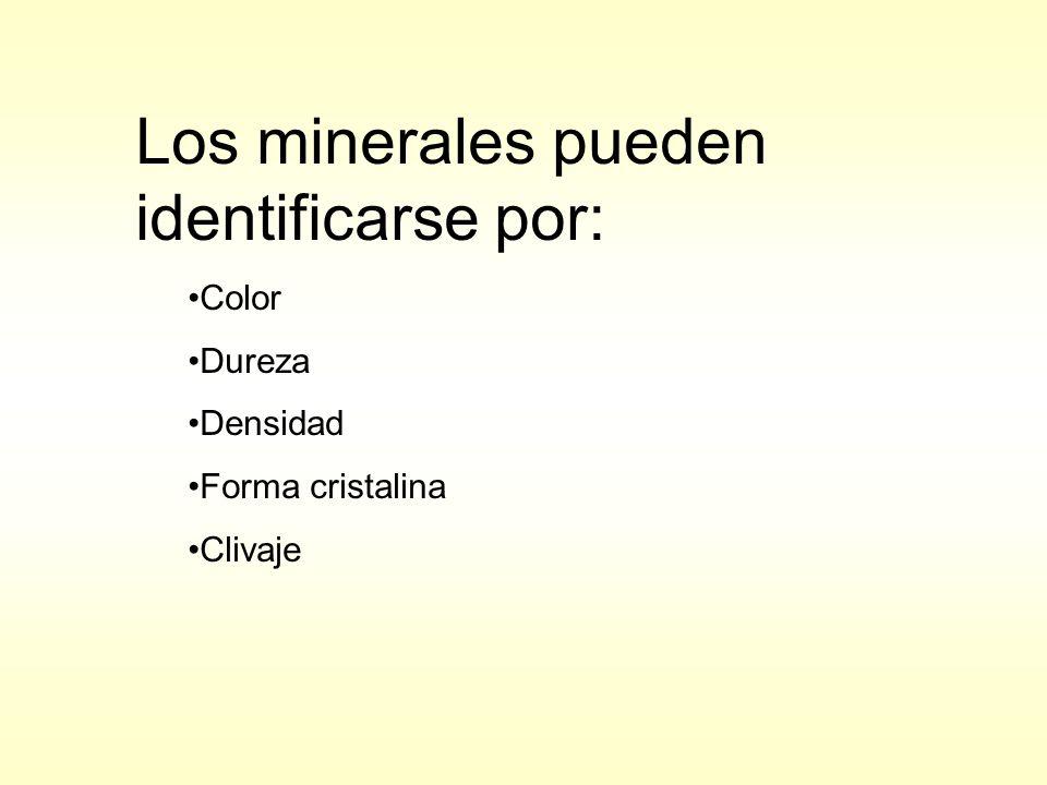 Los minerales pueden identificarse por: Color Dureza Densidad Forma cristalina Clivaje