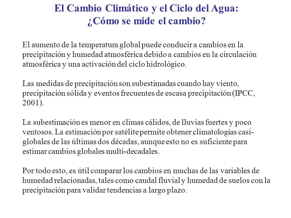 El Cambio Climático y el Ciclo del Agua: ¿Cómo se mide el cambio? El aumento de la temperatura global puede conducir a cambios en la precipitación y h