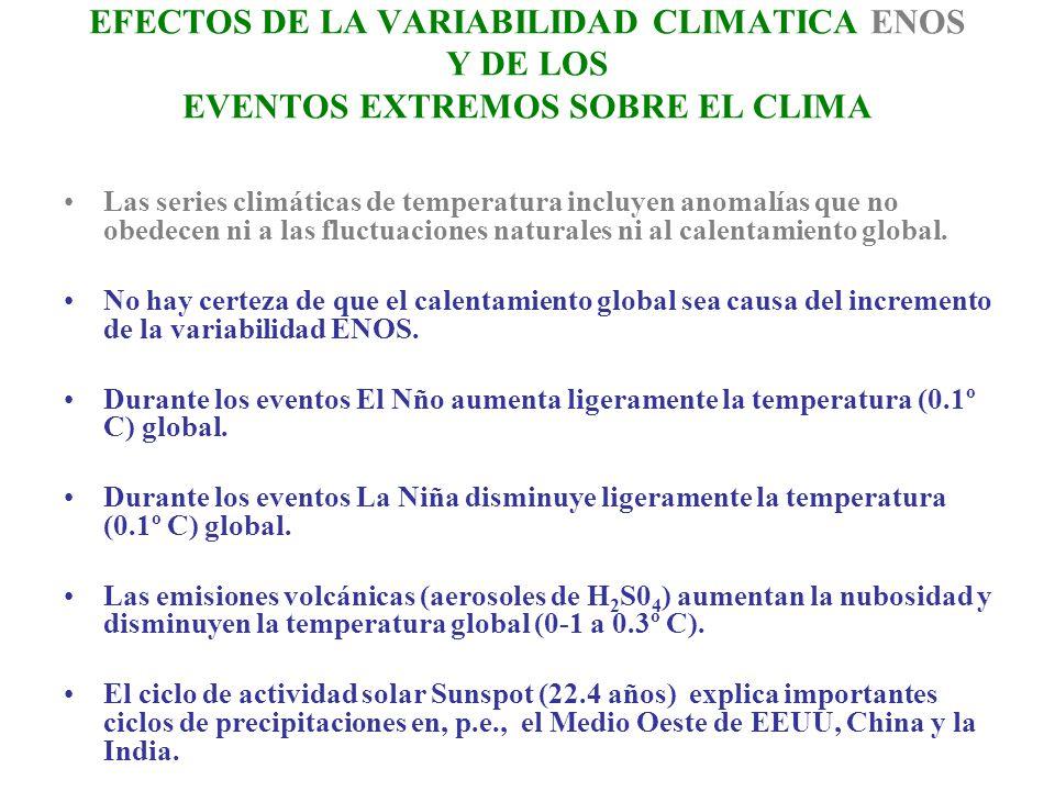 EFECTOS DE LA VARIABILIDAD CLIMATICA ENOS Y DE LOS EVENTOS EXTREMOS SOBRE EL CLIMA Las series climáticas de temperatura incluyen anomalías que no obed