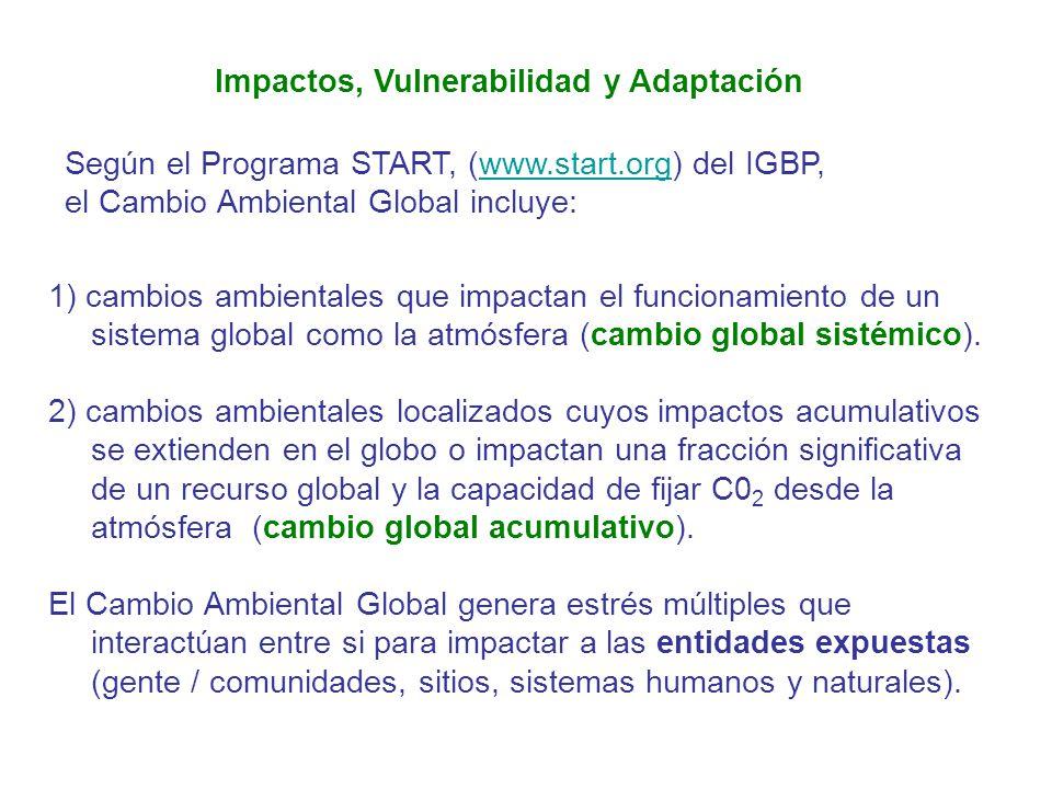 Impactos, Vulnerabilidad y Adaptación 1) cambios ambientales que impactan el funcionamiento de un sistema global como la atmósfera (cambio global sist