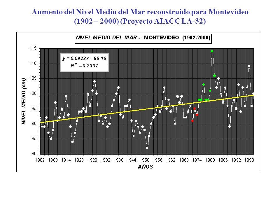 Aumento del Nivel Medio del Mar reconstruido para Montevideo (1902 – 2000) (Proyecto AIACC LA-32)
