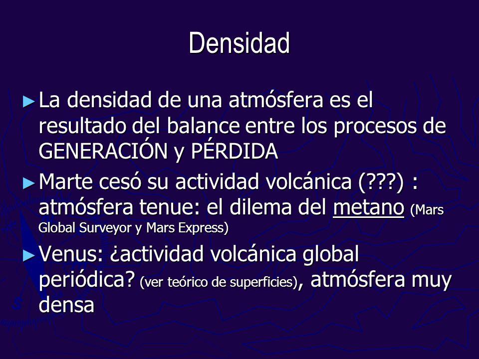 Densidad La densidad de una atmósfera es el resultado del balance entre los procesos de GENERACIÓN y PÉRDIDA La densidad de una atmósfera es el result