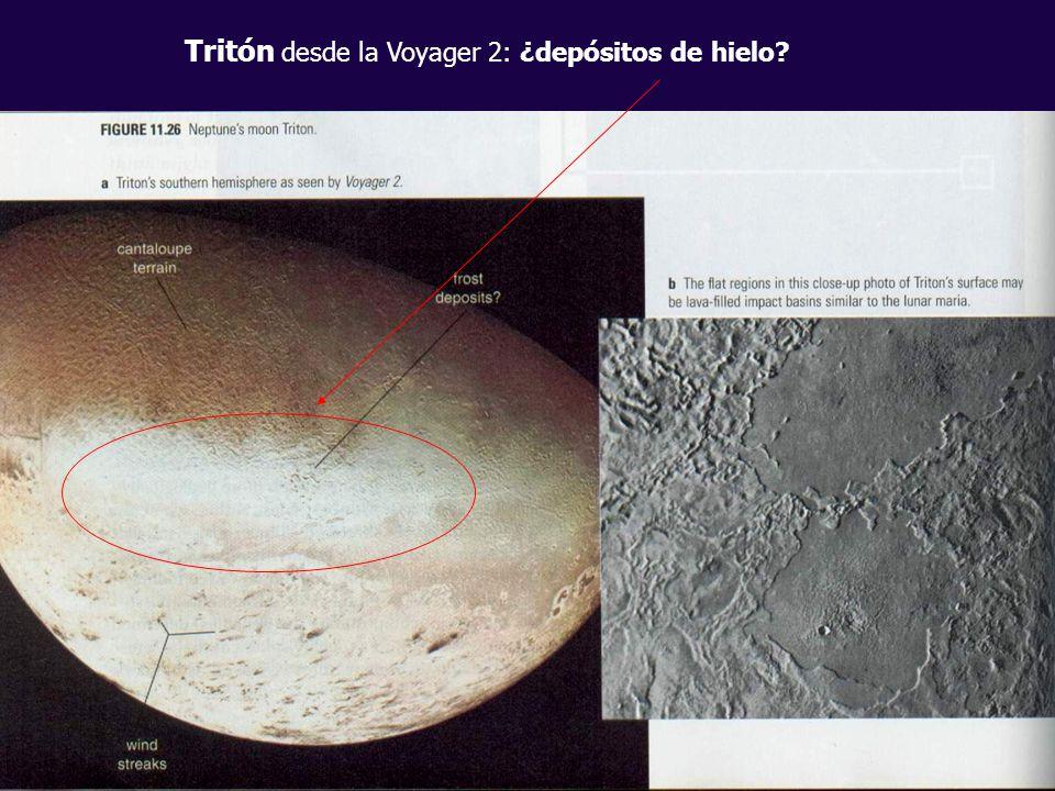 Tritón desde la Voyager 2: ¿depósitos de hielo?