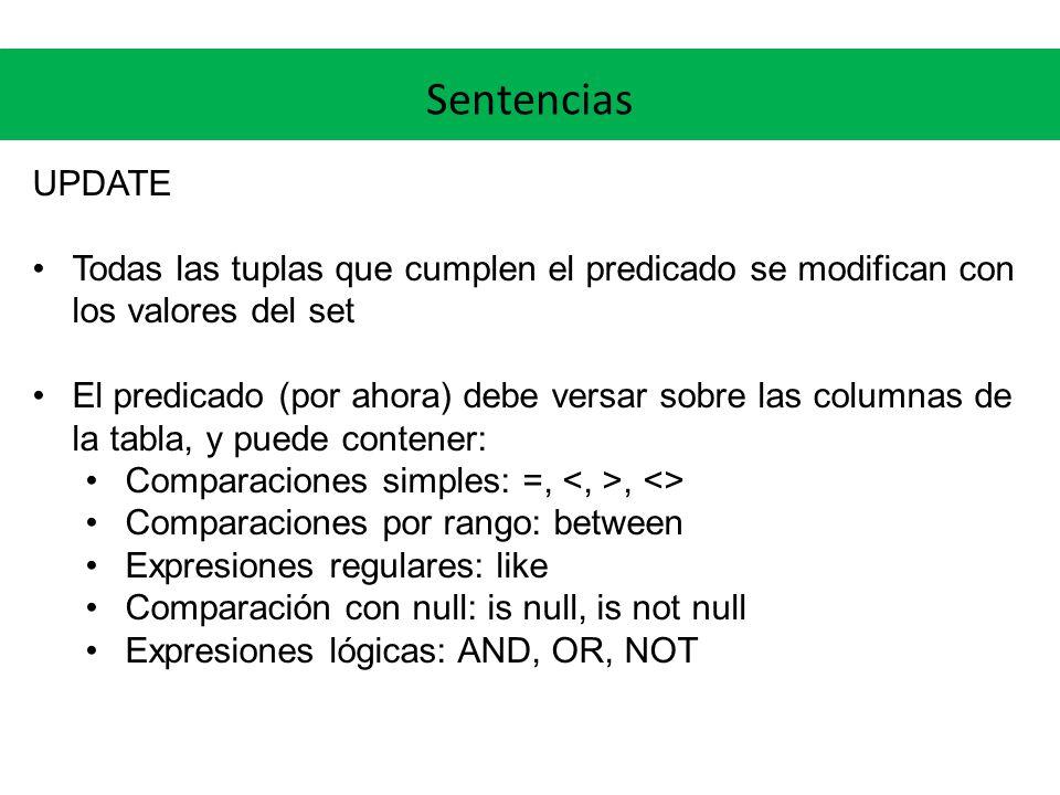 Sentencias UPDATE Todas las tuplas que cumplen el predicado se modifican con los valores del set El predicado (por ahora) debe versar sobre las columnas de la tabla, y puede contener: Comparaciones simples: =,, <> Comparaciones por rango: between Expresiones regulares: like Comparación con null: is null, is not null Expresiones lógicas: AND, OR, NOT