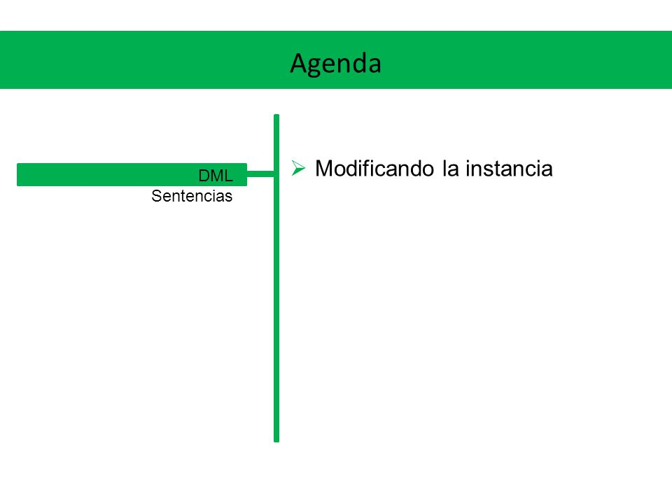 Agenda Modificando la instancia DML Sentencias