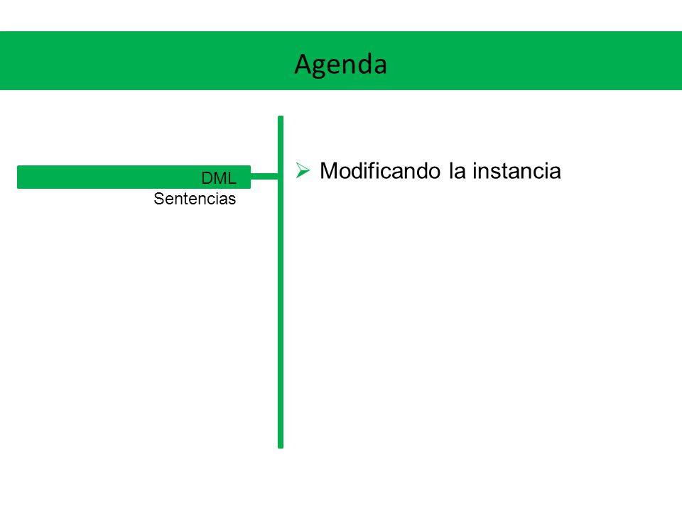 DML Modificando la instancia Con el Data Definition Language (DDL) creamos y modificamos el esquema (o estructura) de la base Con el Data Manipulation Language (DML) modificamos la instancia, es decir: insertamos, modificamos y eliminamos tuplas en las tablas Veremos los comandos INSERT, UPDATE y DELETE de forma muy simplificada Pueden surgir errores por intentar violar cualquier constraint definida: Tipo de datos, NOT NULL, CHECK, PK, UK o FK