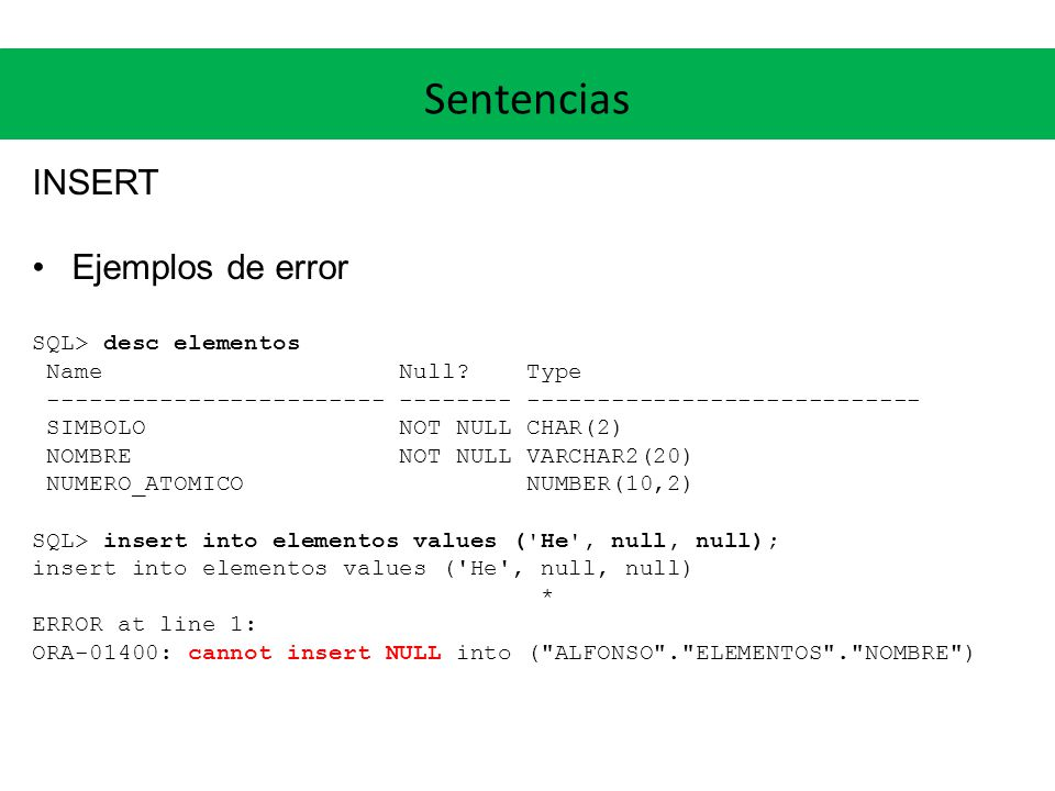 Sentencias INSERT SQL> insert into elementos values ( He , Helio , desconozco ); insert into elementos values ( He , Helio , desconozco ) * ERROR at line 1: ORA-01722: invalid number SQL> insert into elementos values ( H , Hidrogeno , 1); insert into elementos values ( H , Hidrogeno , 1) * ERROR at line 1: ORA-00001: unique constraint (ALFONSO.SYS_C0029000) violated SQL> insert into elementos_molecula values ( C , Metano , 1); insert into elementos_molecula values ( C , Metano , 1) * ERROR at line 1: ORA-02291: integrity constraint (ALFONSO.FK_MOLECULAS_ELEMENTOS) violated - parent key not found