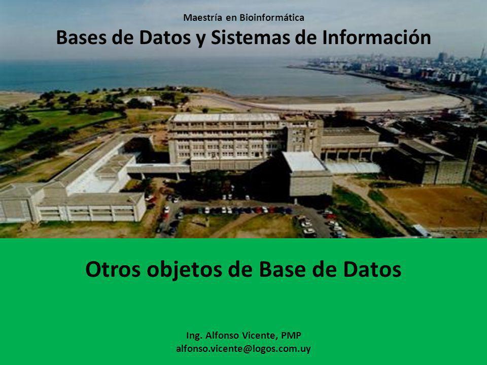 Maestría en Bioinformática Bases de Datos y Sistemas de Información Otros objetos de Base de Datos Ing. Alfonso Vicente, PMP alfonso.vicente@logos.com