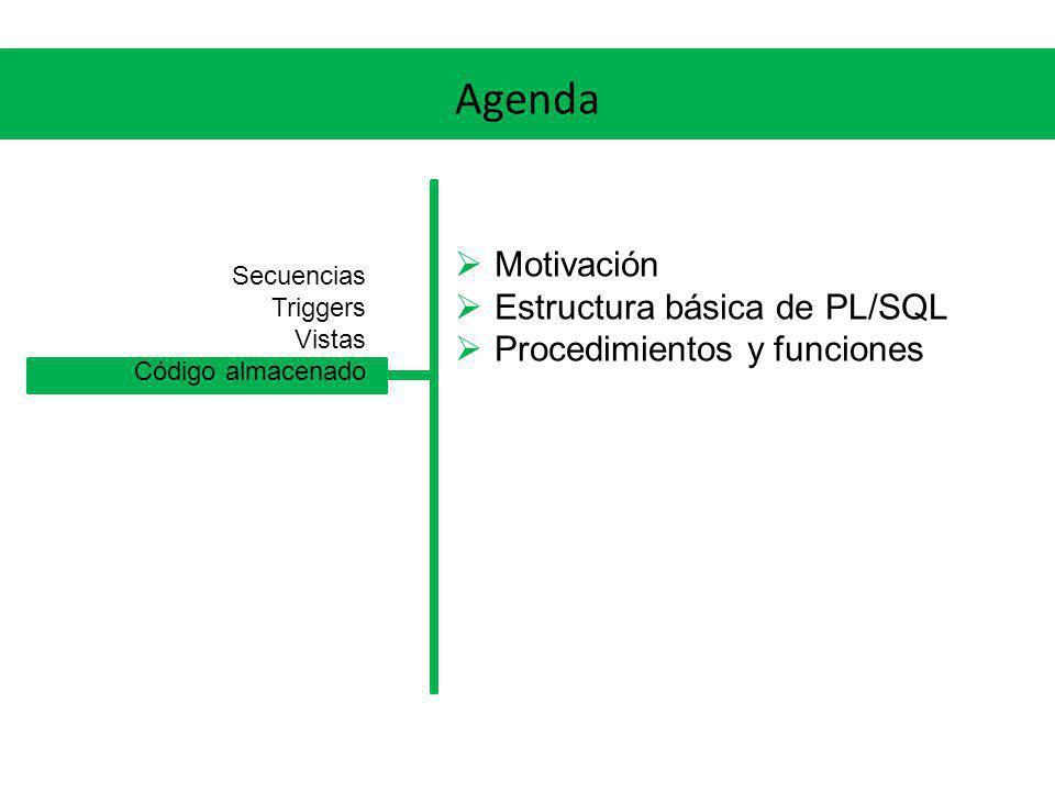 Agenda Motivación Estructura básica de PL/SQL Procedimientos y funciones Secuencias Triggers Vistas Código almacenado