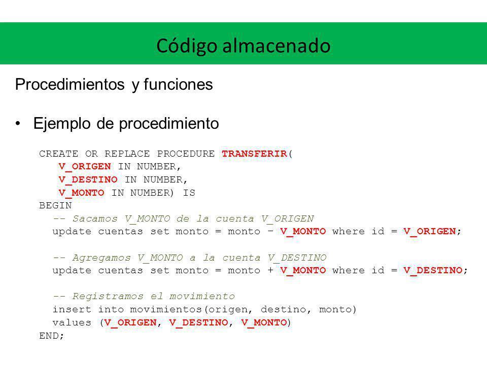 Código almacenado Procedimientos y funciones Ejemplo de procedimiento CREATE OR REPLACE PROCEDURE TRANSFERIR( V_ORIGEN IN NUMBER, V_DESTINO IN NUMBER,