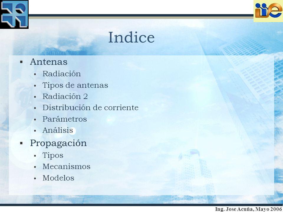 Ing. Jose Acuña, Mayo 2006 Indice Antenas Radiación Tipos de antenas Radiación 2 Distribución de corriente Parámetros Análisis Propagación Tipos Mecan