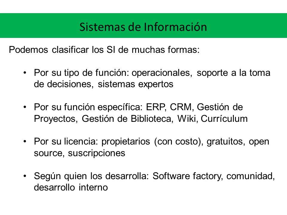 Sistemas de Información Podemos clasificar los SI de muchas formas: Por su tipo de función: operacionales, soporte a la toma de decisiones, sistemas e