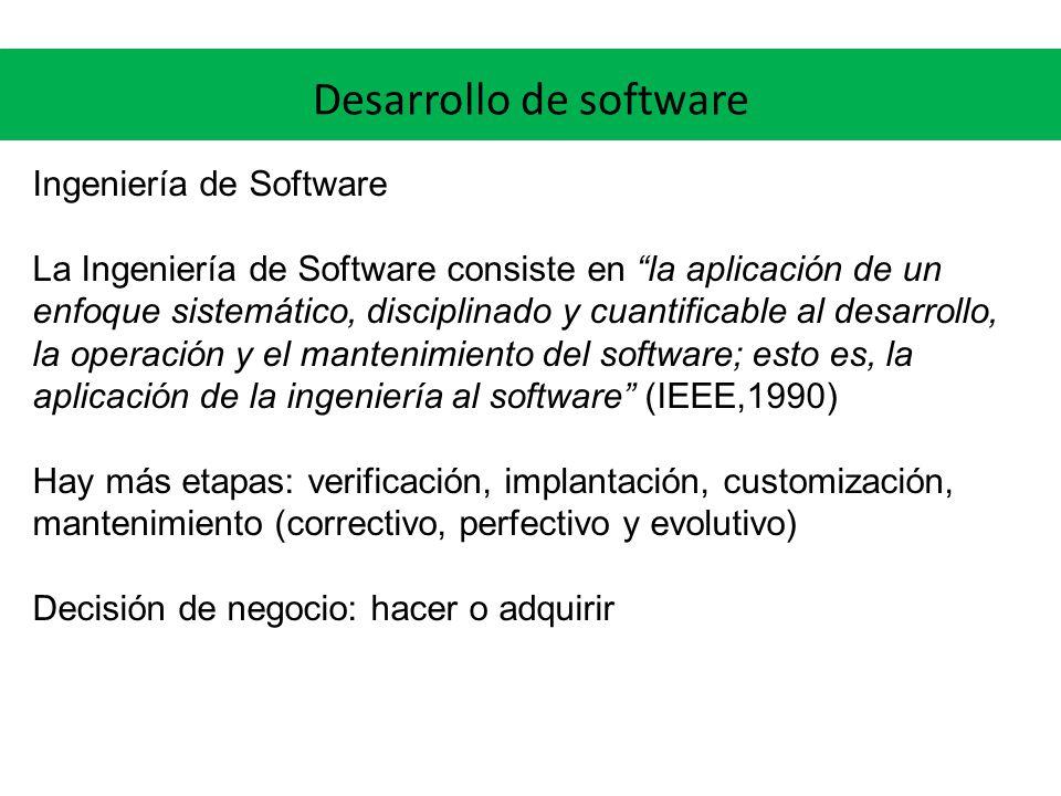 Desarrollo de software Ingeniería de Software La Ingeniería de Software consiste en la aplicación de un enfoque sistemático, disciplinado y cuantifica