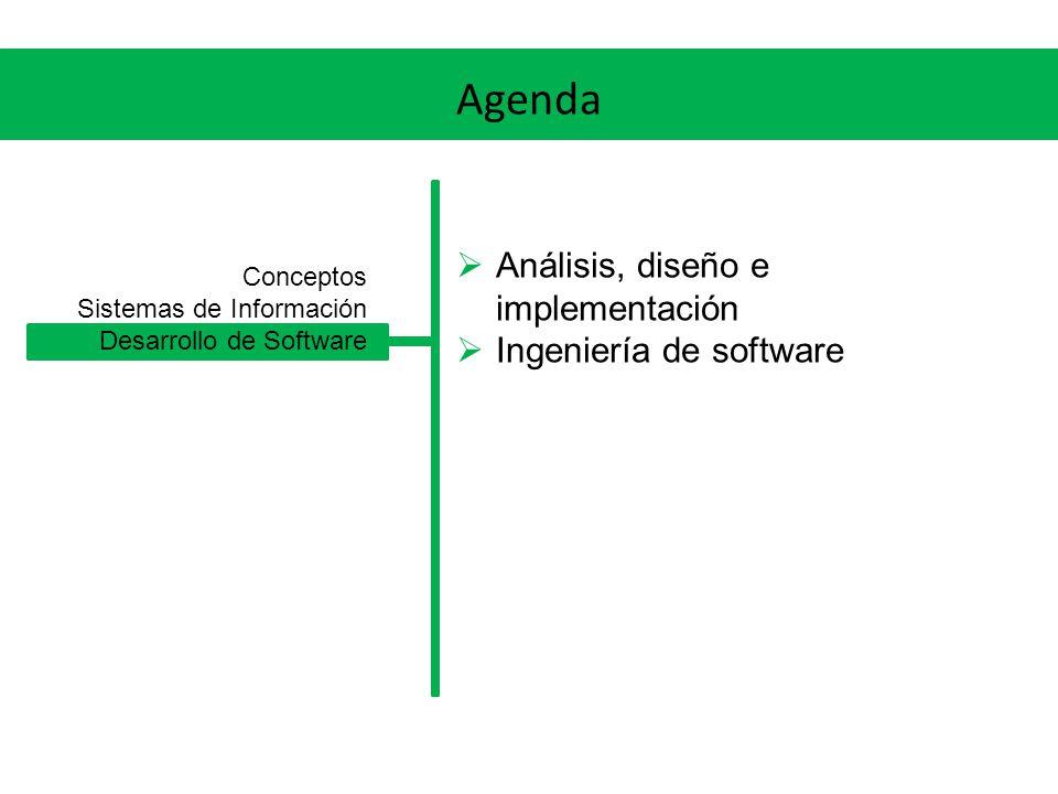 Agenda Análisis, diseño e implementación Ingeniería de software Conceptos Sistemas de Información Desarrollo de Software