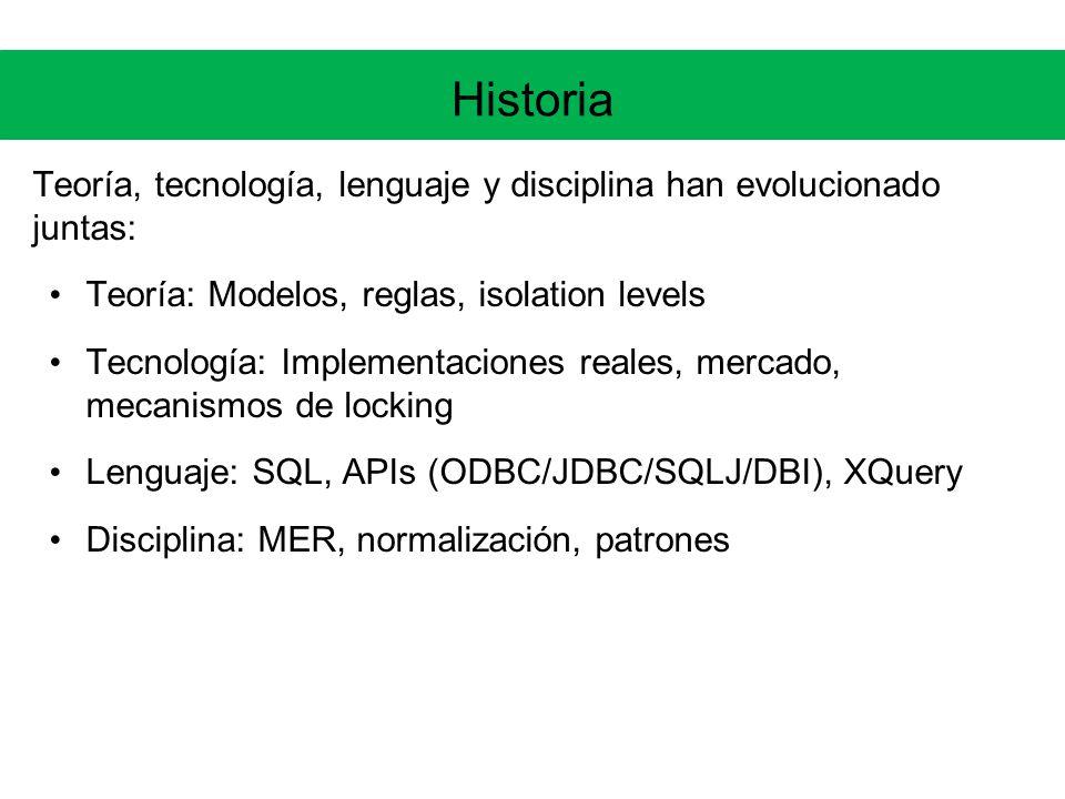 Historia Teoría, tecnología, lenguaje y disciplina han evolucionado juntas: Teoría: Modelos, reglas, isolation levels Tecnología: Implementaciones reales, mercado, mecanismos de locking Lenguaje: SQL, APIs (ODBC/JDBC/SQLJ/DBI), XQuery Disciplina: MER, normalización, patrones