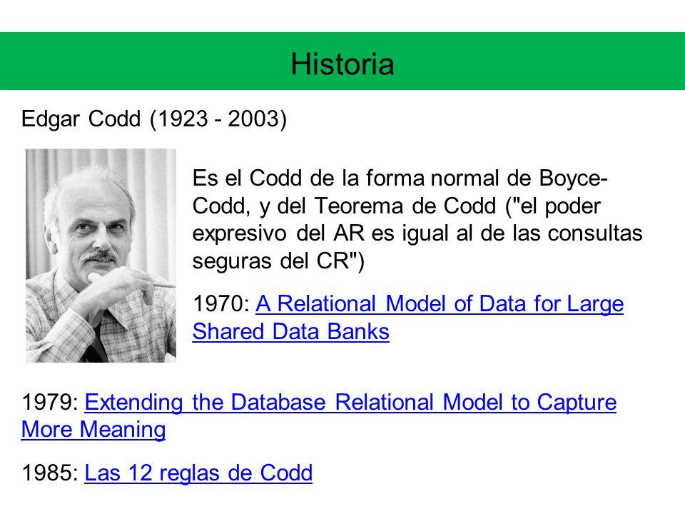 Historia Edgar Codd (1923 - 2003) Es el Codd de la forma normal de Boyce- Codd, y del Teorema de Codd ( el poder expresivo del AR es igual al de las consultas seguras del CR ) 1970: A Relational Model of Data for Large Shared Data BanksA Relational Model of Data for Large Shared Data Banks 1979: Extending the Database Relational Model to Capture More MeaningExtending the Database Relational Model to Capture More Meaning 1985: Las 12 reglas de CoddLas 12 reglas de Codd