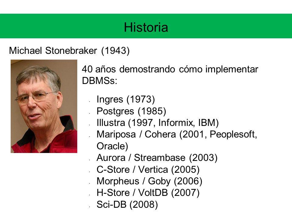 Historia Michael Stonebraker (1943) 40 años demostrando cómo implementar DBMSs: Ingres (1973) Postgres (1985) Illustra (1997, Informix, IBM) Mariposa / Cohera (2001, Peoplesoft, Oracle) Aurora / Streambase (2003) C-Store / Vertica (2005) Morpheus / Goby (2006) H-Store / VoltDB (2007) Sci-DB (2008)