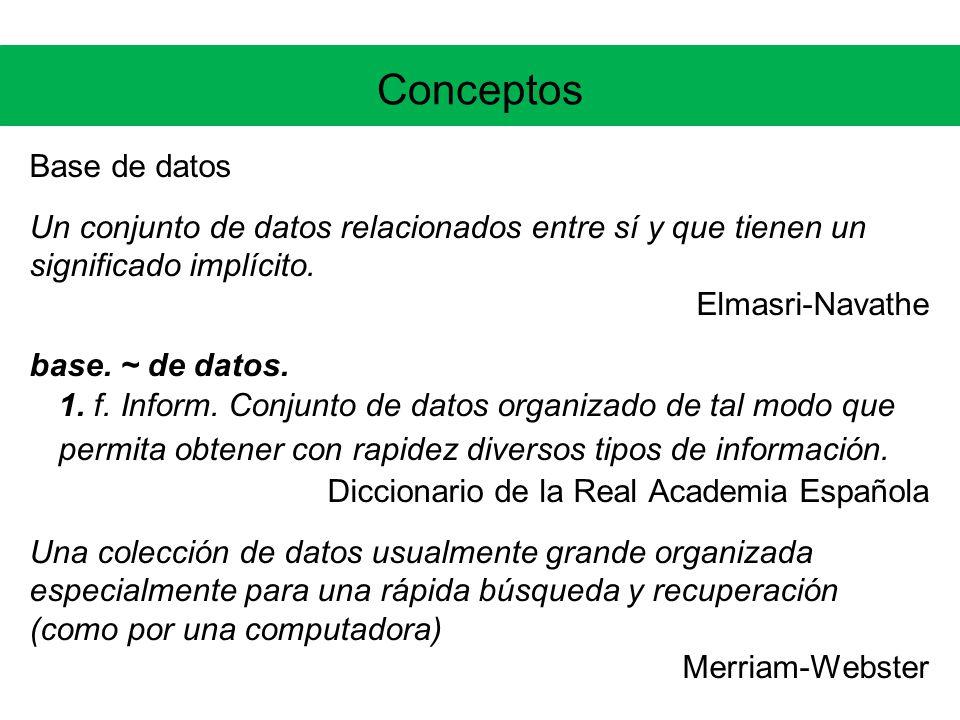 Conceptos Tipos de DBMSs NoSQL, NoREL, NewSQL, BigData, Sistemas K-V Memcached, MapReduce, BigTable (Google), Cassandra (Facebook), Dynamo (Amazon), MongoDB, NuoDB, VoltDB (Stonebraker)...muchos más: http://nosql-database.orghttp://nosql-database.org Surgen por la motivación de escalar bien manejando grandes volúmenes (petabytes) de información, utilizando para ello clusters con muchos hosts...